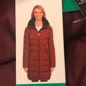 Andrew Marc dark berry burgundy maroon puffer coat